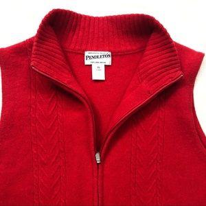 Pendleton Jackets & Coats - VTG Pendleton Red Lambswool Zip Vest